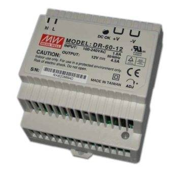 DIN RAIL voeding 60W - 12v - Meanwell