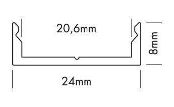Aluminium profiel met cover Laag model - breed