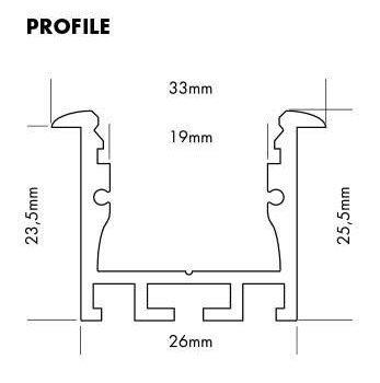 Aluminium profiel inbouw voor ledstrips tot 19mm