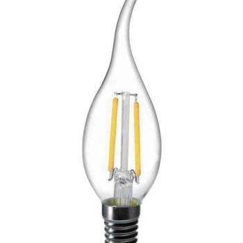 E14 LED kaars 2W-25W 2700k warm-wit met krul top dimbaar